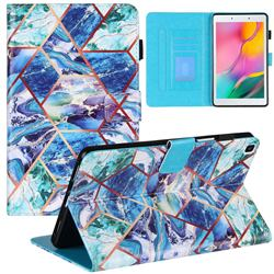 Green and Blue Stitching Color Marble Leather Flip Cover for Samsung Galaxy Tab A 8.0 (2019) T290 T295
