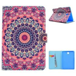 Orange Mandala Flower Folio Flip Stand Leather Wallet Case for Samsung Galaxy Tab A 8.0 T350 T355