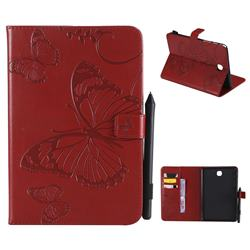 Embossing 3D Butterfly Leather Wallet Case for Samsung Galaxy Tab A 8.0 T350 T355 - Red