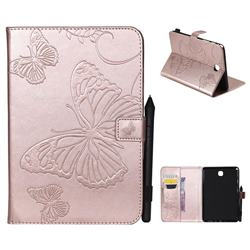 Embossing 3D Butterfly Leather Wallet Case for Samsung Galaxy Tab A 8.0 T350 T355 - Rose Gold