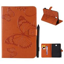 Embossing 3D Butterfly Leather Wallet Case for Samsung Galaxy Tab A 8.0 T350 T355 - Orange
