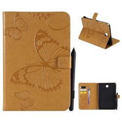 Embossing 3D Butterfly Leather Wallet Case for Samsung Galaxy Tab A 8.0 T350 T355 - Yellow