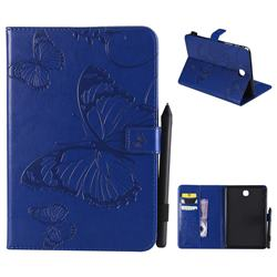 Embossing 3D Butterfly Leather Wallet Case for Samsung Galaxy Tab A 8.0 T350 T355 - Blue