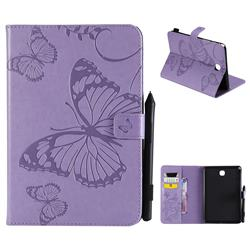 Embossing 3D Butterfly Leather Wallet Case for Samsung Galaxy Tab A 8.0 T350 T355 - Purple