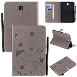 Embossing Bee and Cat Leather Flip Cover for Samsung Galaxy Tab A 8.0 T350 T355 - Gray