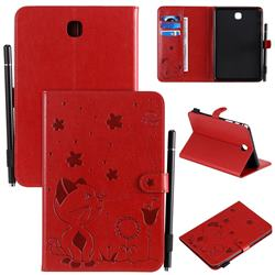 Embossing Bee and Cat Leather Flip Cover for Samsung Galaxy Tab A 8.0 T350 T355 - Red