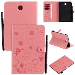 Embossing Bee and Cat Leather Flip Cover for Samsung Galaxy Tab A 8.0 T350 T355 - Pink