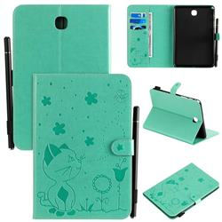 Embossing Bee and Cat Leather Flip Cover for Samsung Galaxy Tab A 8.0 T350 T355 - Green