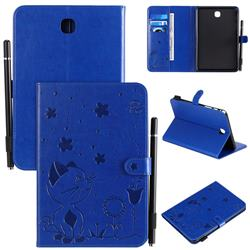 Embossing Bee and Cat Leather Flip Cover for Samsung Galaxy Tab A 8.0 T350 T355 - Blue
