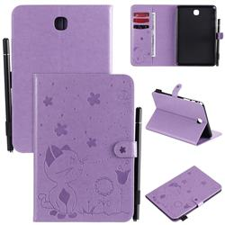 Embossing Bee and Cat Leather Flip Cover for Samsung Galaxy Tab A 8.0 T350 T355 - Purple