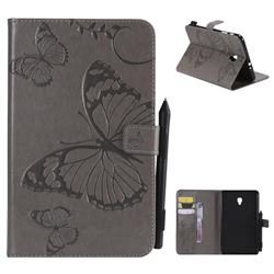 Embossing 3D Butterfly Leather Wallet Case for Samsung Galaxy Tab A 8.0 (2017) T380 T385 A2 S - Gray