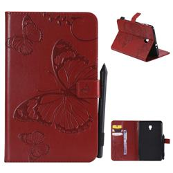 Embossing 3D Butterfly Leather Wallet Case for Samsung Galaxy Tab A 8.0 (2017) T380 T385 A2 S - Red