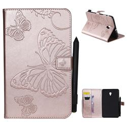 Embossing 3D Butterfly Leather Wallet Case for Samsung Galaxy Tab A 8.0 (2017) T380 T385 A2 S - Rose Gold
