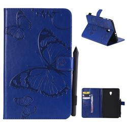 Embossing 3D Butterfly Leather Wallet Case for Samsung Galaxy Tab A 8.0 (2017) T380 T385 A2 S - Blue