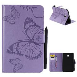 Embossing 3D Butterfly Leather Wallet Case for Samsung Galaxy Tab A 8.0 (2017) T380 T385 A2 S - Purple
