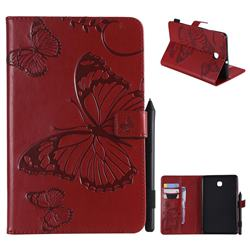 Embossing 3D Butterfly Leather Wallet Case for Samsung Galaxy Tab A 8.0(2018) T387 - Red