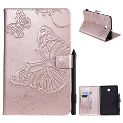 Embossing 3D Butterfly Leather Wallet Case for Samsung Galaxy Tab A 8.0(2018) T387 - Rose Gold