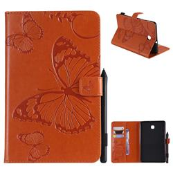 Embossing 3D Butterfly Leather Wallet Case for Samsung Galaxy Tab A 8.0(2018) T387 - Orange