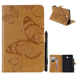 Embossing 3D Butterfly Leather Wallet Case for Samsung Galaxy Tab A 8.0(2018) T387 - Yellow