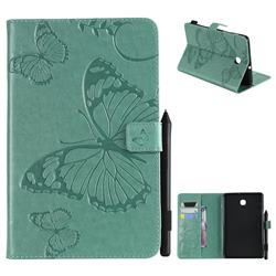 Embossing 3D Butterfly Leather Wallet Case for Samsung Galaxy Tab A 8.0(2018) T387 - Green