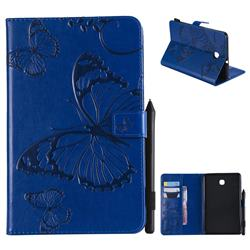 Embossing 3D Butterfly Leather Wallet Case for Samsung Galaxy Tab A 8.0(2018) T387 - Blue