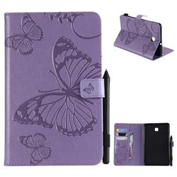 Embossing 3D Butterfly Leather Wallet Case for Samsung Galaxy Tab A 8.0(2018) T387 - Purple