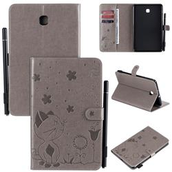 Embossing Bee and Cat Leather Flip Cover for Samsung Galaxy Tab A 8.0(2018) T387 - Gray
