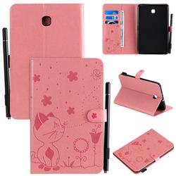 Embossing Bee and Cat Leather Flip Cover for Samsung Galaxy Tab A 8.0(2018) T387 - Pink