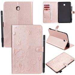Embossing Bee and Cat Leather Flip Cover for Samsung Galaxy Tab A 8.0(2018) T387 - Rose Gold