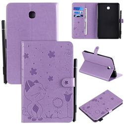 Embossing Bee and Cat Leather Flip Cover for Samsung Galaxy Tab A 8.0(2018) T387 - Purple