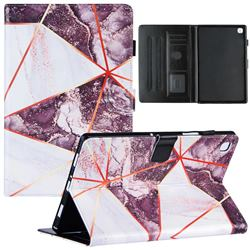 Black and White Stitching Color Marble Leather Flip Cover for Samsung Galaxy Tab A7 10.4 (2020) T500 T505