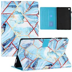 Lake Blue Stitching Color Marble Leather Flip Cover for Samsung Galaxy Tab A7 10.4 (2020) T500 T505