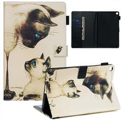 Cat Confrontation Matte Leather Wallet Tablet Case for Samsung Galaxy Tab A 10.1 (2019) T510 T515