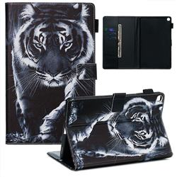 Black and White Tiger Matte Leather Wallet Tablet Case for Samsung Galaxy Tab A 10.1 (2019) T510 T515