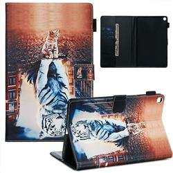 Cat and Tiger Matte Leather Wallet Tablet Case for Samsung Galaxy Tab A 10.1 (2019) T510 T515
