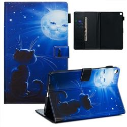 Cat and Moon Matte Leather Wallet Tablet Case for Samsung Galaxy Tab A 10.1 (2019) T510 T515