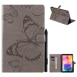 Embossing 3D Butterfly Leather Wallet Case for Samsung Galaxy Tab A 10.1 (2019) T510 T515 - Gray
