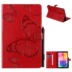 Embossing 3D Butterfly Leather Wallet Case for Samsung Galaxy Tab A 10.1 (2019) T510 T515 - Red