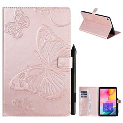 Embossing 3D Butterfly Leather Wallet Case for Samsung Galaxy Tab A 10.1 (2019) T510 T515 - Rose Gold
