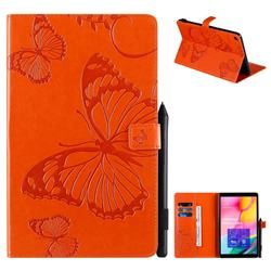 Embossing 3D Butterfly Leather Wallet Case for Samsung Galaxy Tab A 10.1 (2019) T510 T515 - Orange