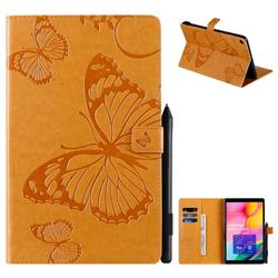 Embossing 3D Butterfly Leather Wallet Case for Samsung Galaxy Tab A 10.1 (2019) T510 T515 - Yellow