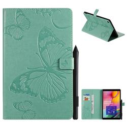 Embossing 3D Butterfly Leather Wallet Case for Samsung Galaxy Tab A 10.1 (2019) T510 T515 - Green