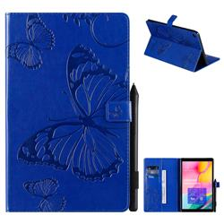 Embossing 3D Butterfly Leather Wallet Case for Samsung Galaxy Tab A 10.1 (2019) T510 T515 - Blue