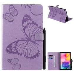 Embossing 3D Butterfly Leather Wallet Case for Samsung Galaxy Tab A 10.1 (2019) T510 T515 - Purple