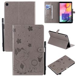 Embossing Bee and Cat Leather Flip Cover for Samsung Galaxy Tab A 10.1 (2019) T510 T515 - Gray