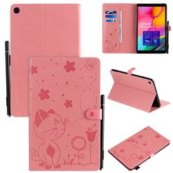 Embossing Bee and Cat Leather Flip Cover for Samsung Galaxy Tab A 10.1 (2019) T510 T515 - Pink