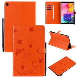 Embossing Bee and Cat Leather Flip Cover for Samsung Galaxy Tab A 10.1 (2019) T510 T515 - Orange
