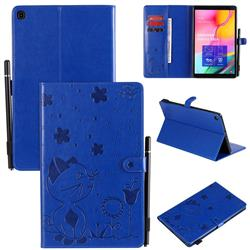 Embossing Bee and Cat Leather Flip Cover for Samsung Galaxy Tab A 10.1 (2019) T510 T515 - Blue