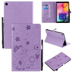 Embossing Bee and Cat Leather Flip Cover for Samsung Galaxy Tab A 10.1 (2019) T510 T515 - Purple