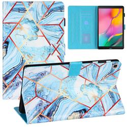 Lake Blue Stitching Color Marble Leather Flip Cover for Samsung Galaxy Tab A 10.1 (2019) T510 T515